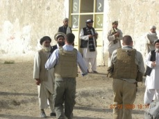 Afghan men greet us as we approach a school. Zabul Province, Afghanistan.